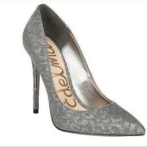 Sam Edelman Silver Danna Pointed Toe Pump Size 8
